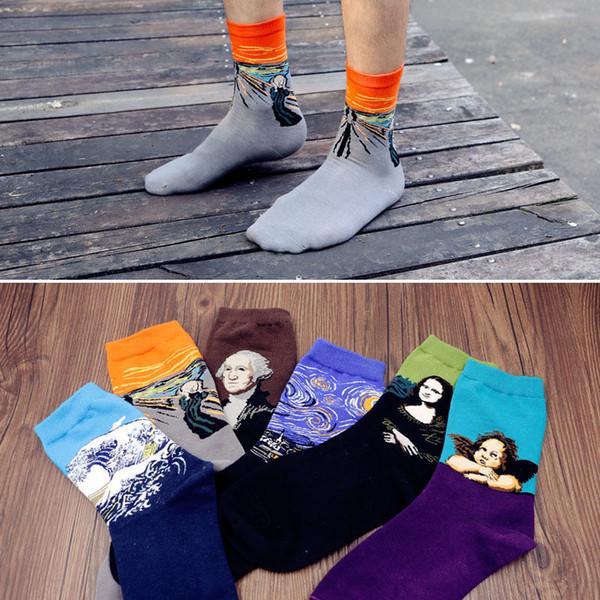 Wholesale- 1 Pair HOT Fashion Vintage Retro Famous Painting Art Socks Novelty Funny Novelty For Men Women