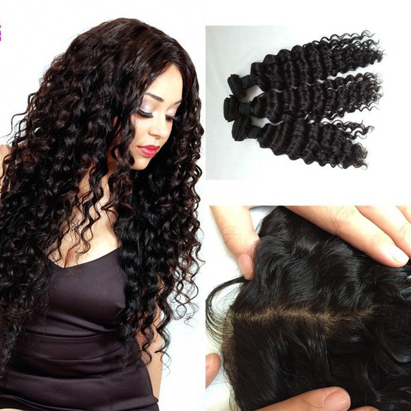 3pcs Malaysian Deep Wave Human Hair Bundles With Silk Frontal Closure Bleached Knots Unprocessed Curly Hair LaurieJ Hair