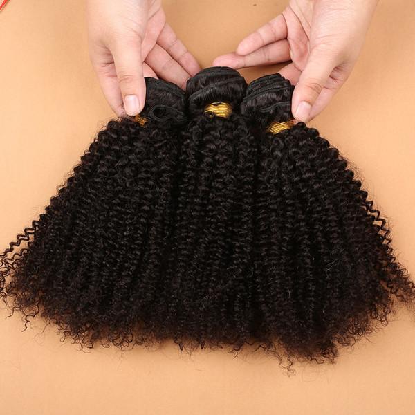 7A Mongol Kinky Bouclés Cheveux Afro Crépus Bouclés Vierge de Cheveux Humains Weaves Naturel Noir 3 PCS / LOT Slove cheveux DHL Livraison gratuite