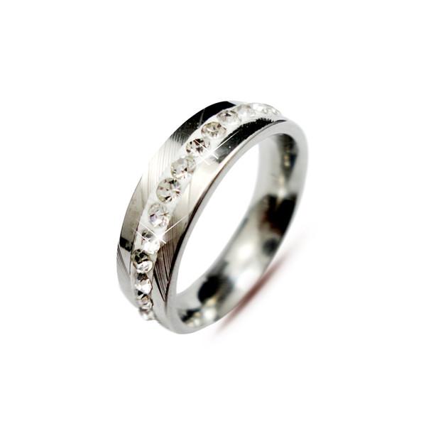 Moda Jóias Casal Clássico Noivado Anel De Casamento Para as mulheres Channel-Set Eternidade Anéis De Aço Inoxidável Frete Grátis B165