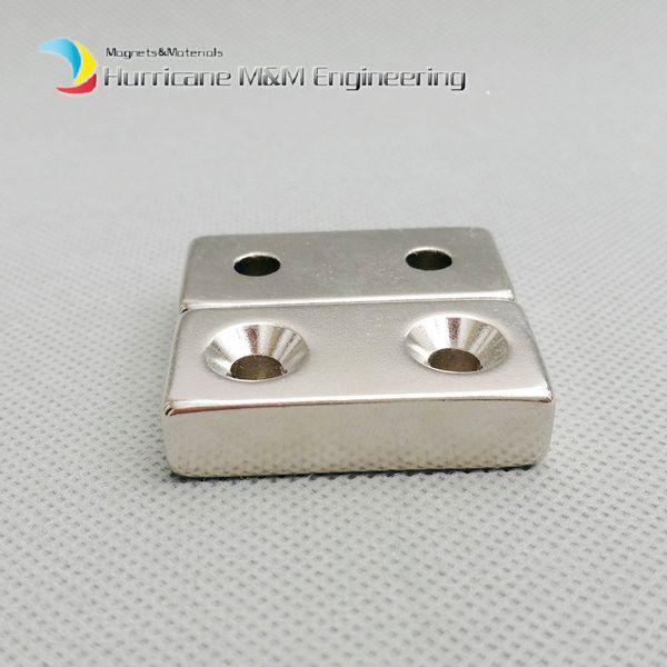 20pcs NdFeB Fix Magnet 40x20x10mm with 2 M5 Screw Countersunk Holes Block N42 Neodymium Rare Earth Permanent Magnet