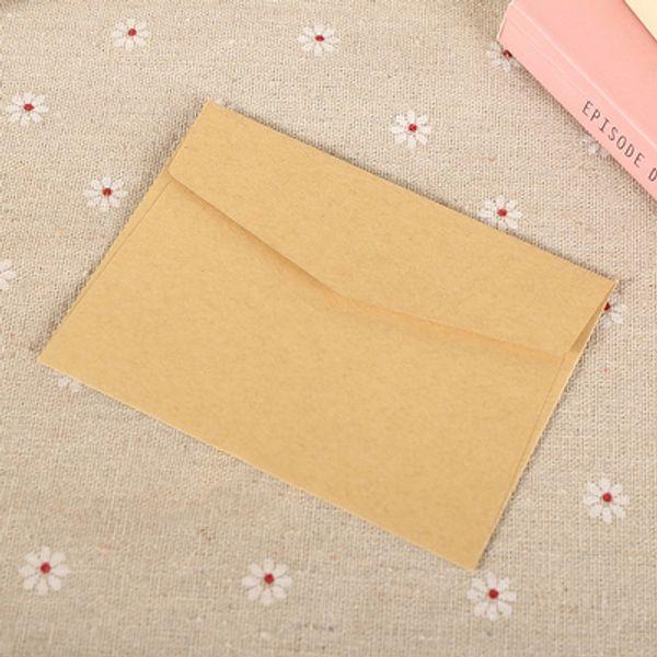 Wholesale- 50Pz LxW: 11x8cm Mini busta colorata Kraft Biglietto da visita VIP Carta piccola Invito a nozze Carta Buste da lettera ufficio