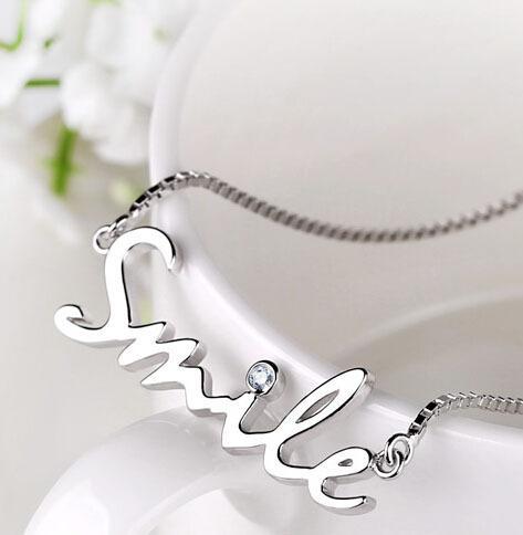 Exquisite S925 Silver Rhinestone Smile Letter Pendant necklace Short Chain clavicle chain