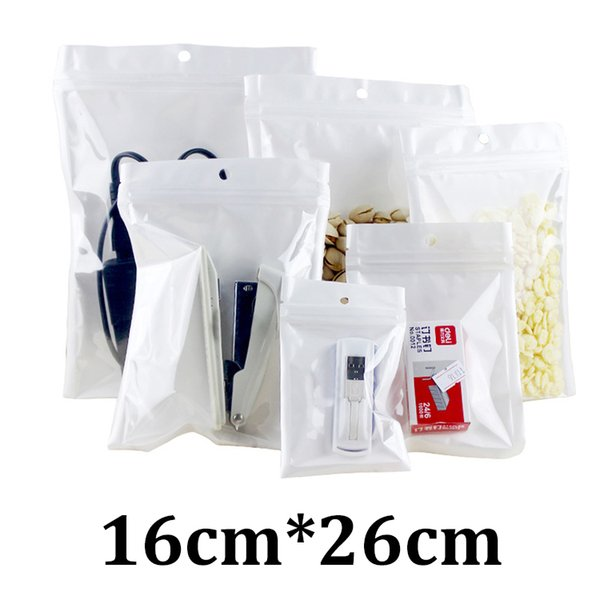 16x26cm one side clear white pearlized BOPP plastic resealable ziplock phone case bag