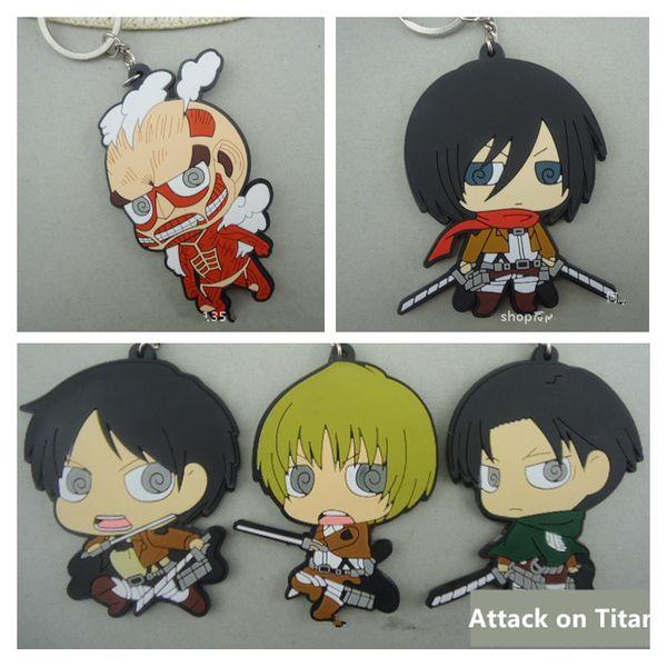 Attack On Titan PVC Keychian Cartoon Eren Jaeger characters Soft Plastic pendant with Key Ring 5pcs/lot