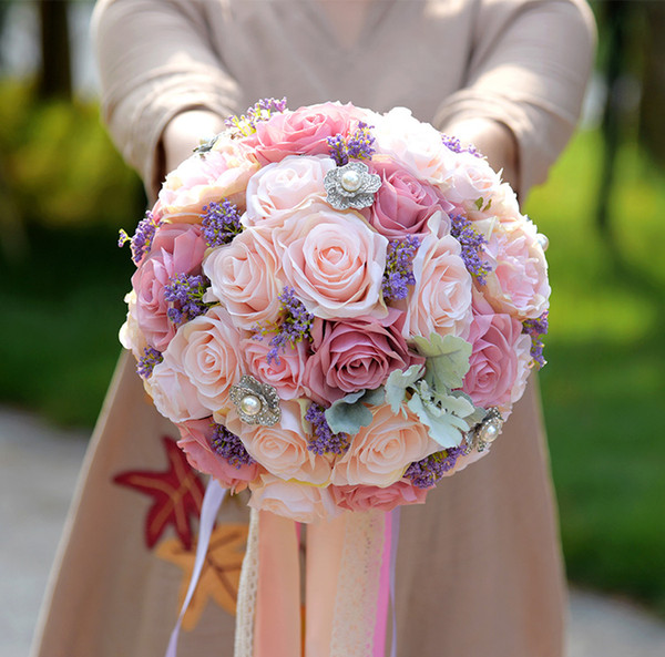 Vintage Silk Flower European Artificial Wedding Bouquets With Pearls Wedding Party Table Centerpiece Christmas Home Decoration Peony Flowers