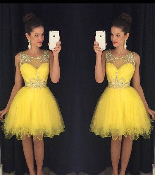top popular Yellow New Homecoming Dresses Sheer Crew Neck Beaded Crystals Tulle Short Mini Prom Gowns vestido formatura curto Cocktail Dresses 2020