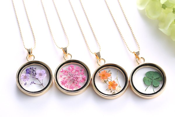 Creative dried flower ture flower herbarium necklaces sided crystal creative dried flower ture flower herbarium necklaces sided crystal glass pendant necklace choice difference flower for aloadofball Images