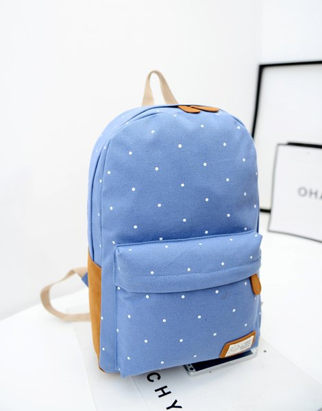Korean style 12 color Cute double-Shoulder book Bags fashion girls women canvas Dots schoolbag middle school students backpacks