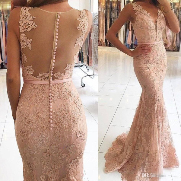 top popular 2017 New Sexy V-Neck Evening Dresses Wear Illusion Lace Appliques Beaded Blush Pink Mermaid Long Sheer Back Formal Party Dress Prom Gowns 2020