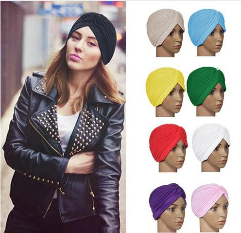 top popular new 18 Colors Unisex India Cap Women Turban Headwrap Hat Skullies Beanies Men Bandana Ears Protector Hair Accessories 2019