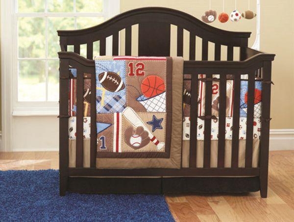 Promotion! 7PCS Baby Cot Bedding Set Newborn Cartoon Sports Crib Bedding (bumper+duvet+bed cover+bed skirt)