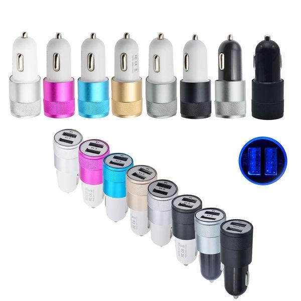 Per caricabatterie USB per auto Samsung Caricabatterie doppio in metallo Caricabatterie universale a Led 12 Volt / 1 ~ 2 Amp Led per iPhone X 8