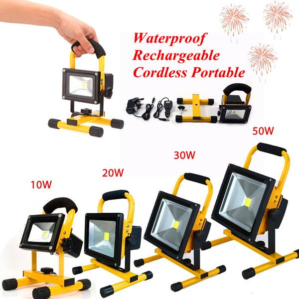 10w 20w 30w 50w Waterproof Rechargeable Led Floodlights Cordless Portable Led Work Light Handy Outdoor Lighting Emergency Light Ip65 Low Voltage