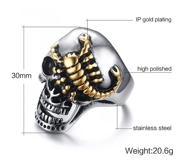 Men's Skull Bone Gothic Rings of Punk Gold Plated Scorpions Wholesale Stainless Steel Vintage Biker Rings for Men Jewelry