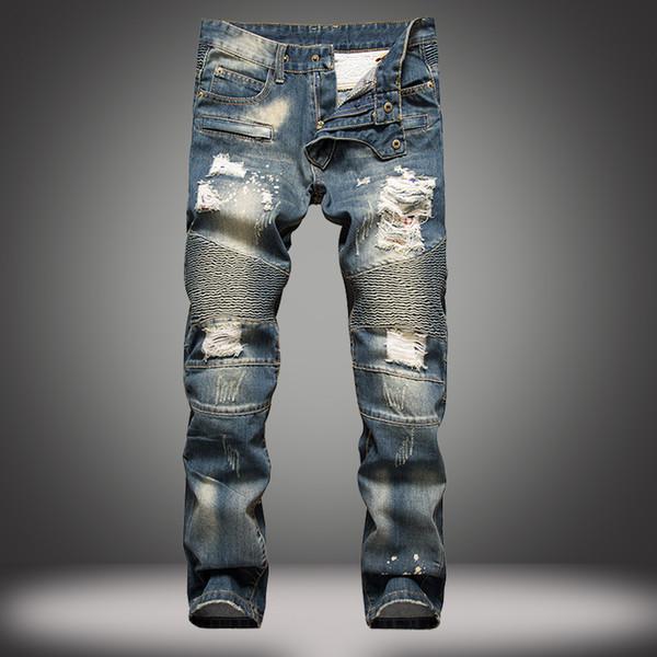 best selling Brand Mens Fear Of God Ripped Hole Straight Destroyed Denim Biker Jeans Runway Distressed slim elastic jeansfg550-2