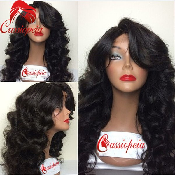 Virgin Brazilian Body Wave Full Lace Wig With Bangs 100% Unprocessed Full Lace Front Human Hair Wigs With Baby Hair 130 Density