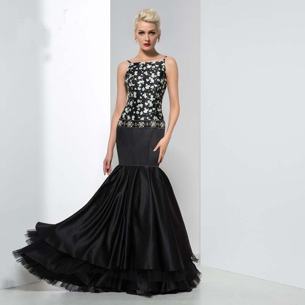 2019 Fashionable Black Print Mermaid Long Evening Dresses Sexy Beaded Crystal Spaghetti Strap Formal Backless Prom Party Gowns