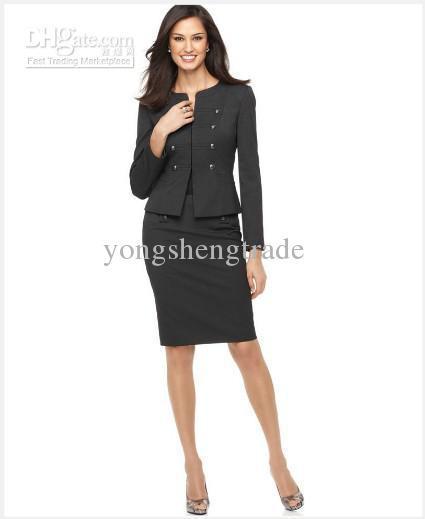 Women's Suit Long Sleeve Military Cadet Jacket & Pencil Skirt Custom Gray Women Suit