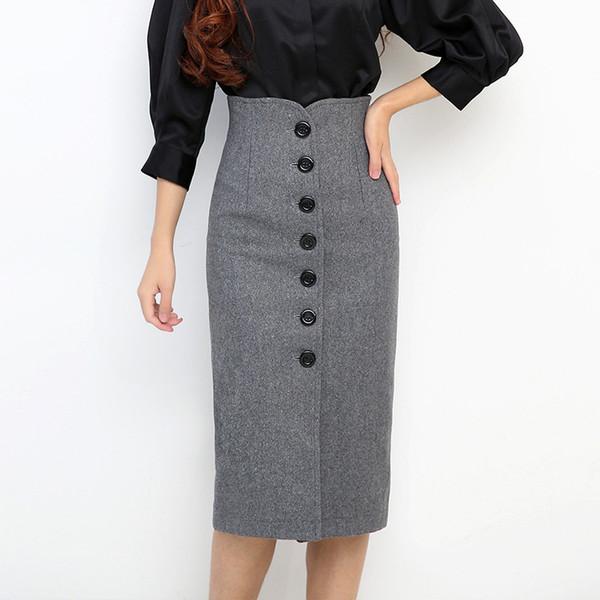 fe409d8bdb Winter Tweed High Waist Knee Length Pencil Skirts Female Saia Women Woolen  Single Breasted Midi Skirts