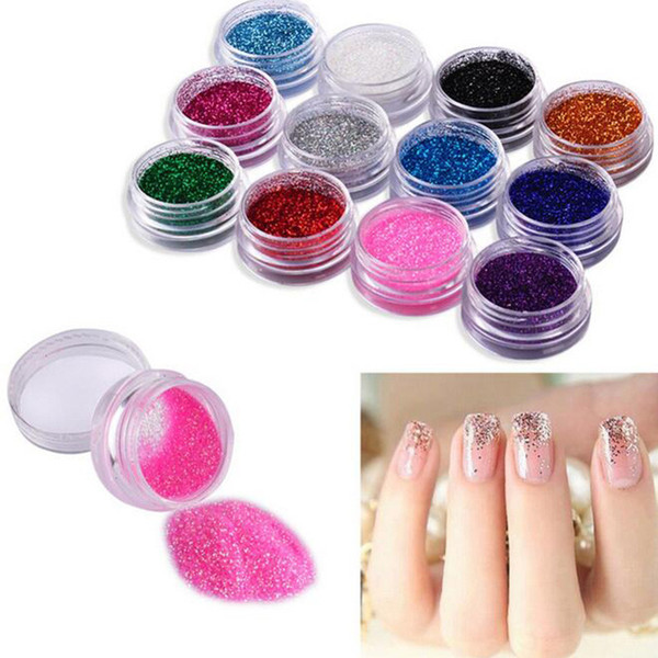 top popular 12colors 45 colors Metal Shiny glitter Dust Hot acrylic tips set Glitter Powder Shiny Nail Glitter Powder Nail Art Decoration 2020