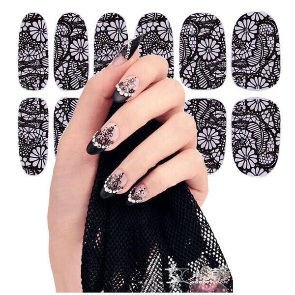 Las ventas más recientes de comercio exterior pegatinas de esmalte de uñas de encaje negro Calcomanías Pegatinas de Arte Nail Calcomanías Manicura 16 estilos 12 clavos de palo 4159