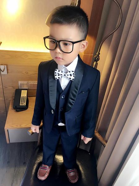 2018 (Coat + Pants + Vest) Boy Flower Kids Suit Slim Fit Tuxedo Brand Fashion Bridal Suit Suit Coat Wedding Dress Red And Blue