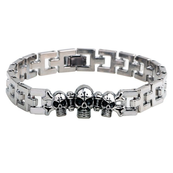 New arrival 12pcs Skull Energy bracelet Titanium, Nano Energy Magnetic Germanium Titanium Bracelet Skeleton Pain Relief Powerfull