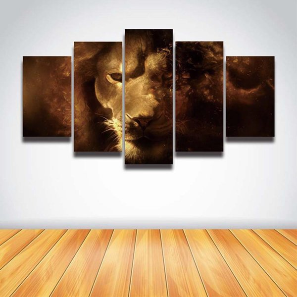 5 Panel Printed Lion Art Animal Modular Picture Landscape Canvas Painting for Wall Art Home Decoration Prints Poster Artwork