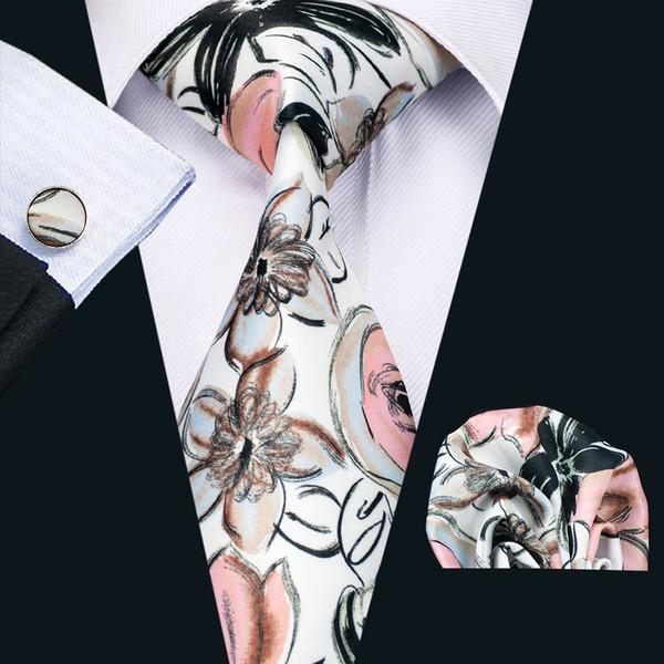 Mens Printed Ties Red Black Ink And Wash Flower Pattern White Business Wedding Silk Tie Set Include Tie Cufflinks Hankerchief N-1259