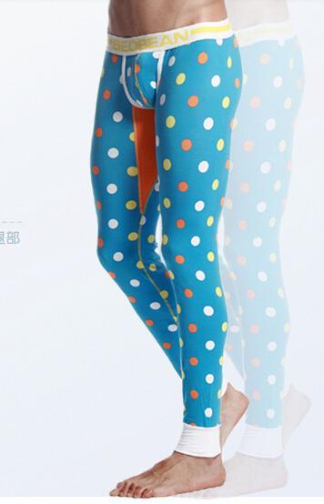 Оптово-Высокое качество Мужские сексуальные пижамы Хлопок теплое нижнее белье Джонсон Dot design Pijama Legging узкие спортивные брюки (S, M, L, XL)