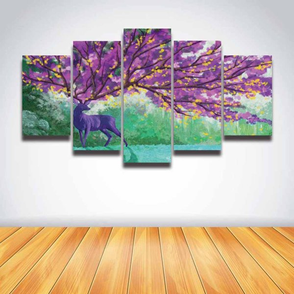 5 Panel Canvas Prints Artistic Deer Purple Tree Flower Painting Modular Picture Artwork for Wall Art Home Decor Room Bedroom