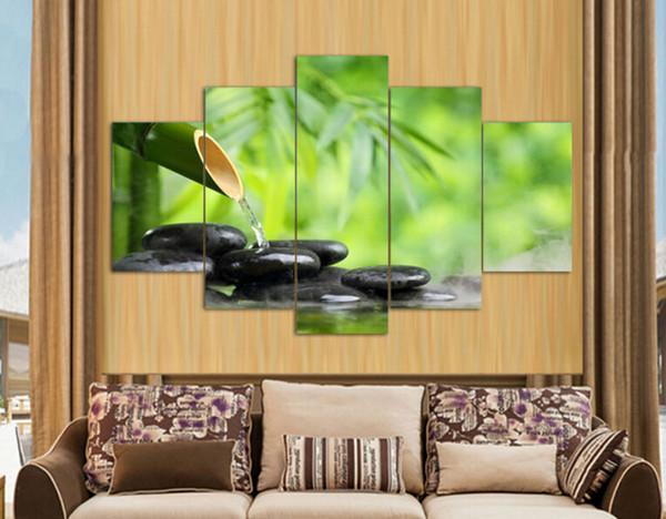 5 pannello di arte della parete pittura a olio di pietra di bambù decorazione della casa stampe su tela immagini per soggiorno con cornice arte stampa su tela