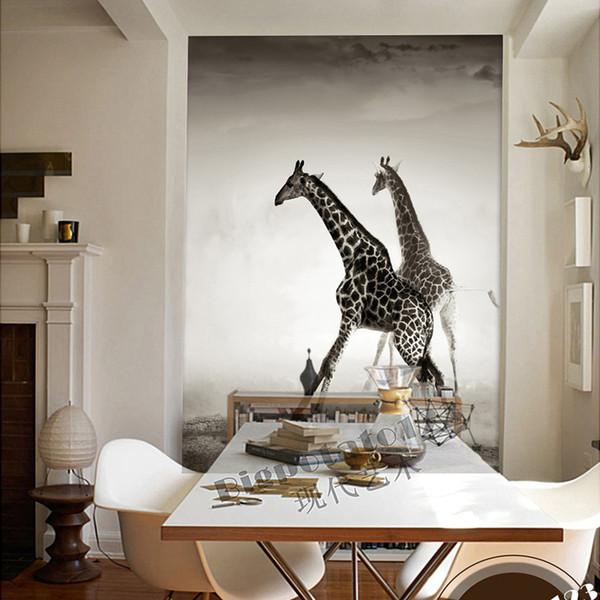 Custom Animal Wallpaper For Walls 3d Giraffe Photo Wallpaper Landscape Mural Room Decor Bedroom Corridor Office Wall Covering Tree Wallpaper Wallpaper