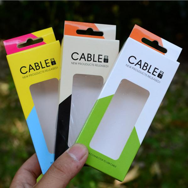 Universal-USB-Kabel-Micro-Ladegerät-Papier-Boxen Öffnen Sie Windom-Ansicht Datumsgrenze Einzelhandel Verpackung für iphone se 5 s 6 s 7 plus Samsung S6 Hinweis 7