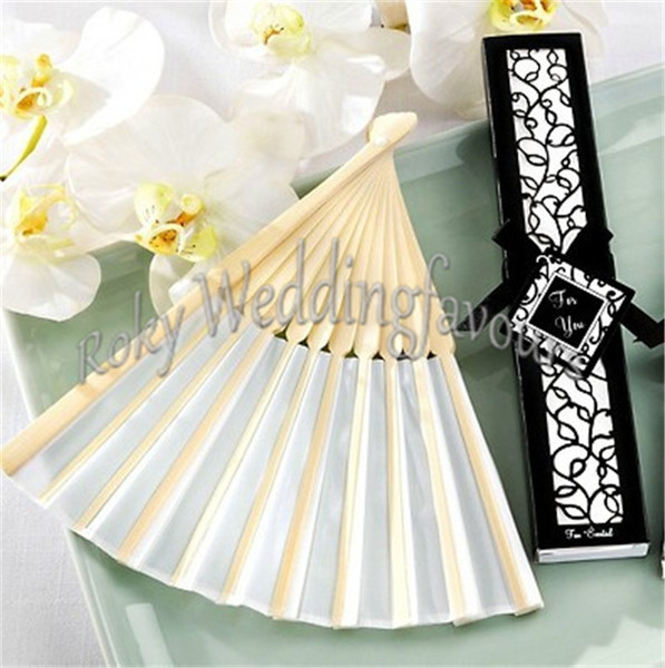 Free Shipping 50pcs/lot!Wedding Favors Bamboo Silk Fans with Laser Cut Gift Box white/Black Silk Fan Wedding Decoration Party Supplie Shower