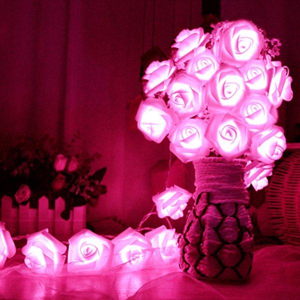 20 x LED Novelty Rose Flower Fairy String Lights Wedding Garden Party Christmas Decoration 8 Color Night Light Nightlight