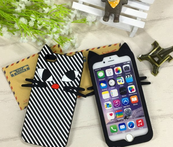 3D cartoon soft silicone case cute cat animal silicon rubber phone back cover For Iphone 7 5s 5se 6 6s plus 7plus