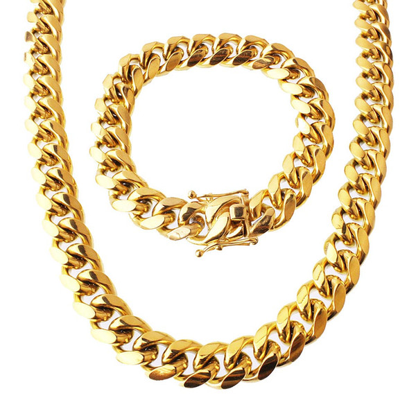 """best selling Stainless Steel Jewelry Set 18K Gold Plated High Quality Cuban Link Necklace & Bracelet For Mens Curb Chain 1.5cm 8.5"""" 22"""" 24"""" 28"""" 30"""" 34"""""""