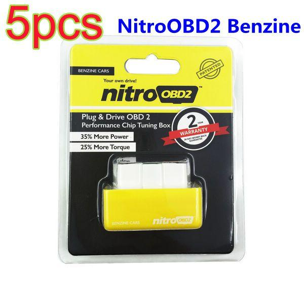 5 unids Al Por Mayor Plug And Drive NitroOBD2 Chip Tuning Box Performance para Benzine Cars ECU Chip Turning OBD2 Escáner de Diagnóstico Envío Gratis