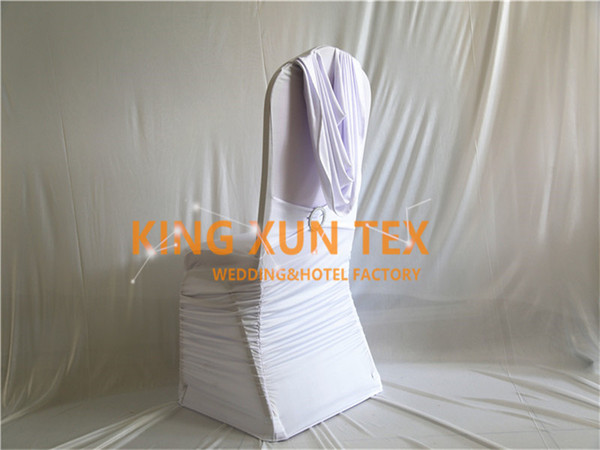 White Color Pleated Lycra Spandex Chair Cover Back With Swag Drape For Wedding And Event Decoration Free Shipping