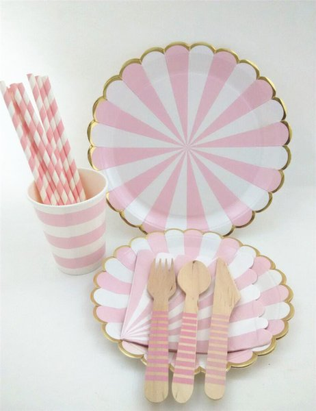 Free Shipping!!! Baby shower Pink Scalloped foil gold eadge Paper Plates Pink Kid's party paper tableware for wedding/Christmas