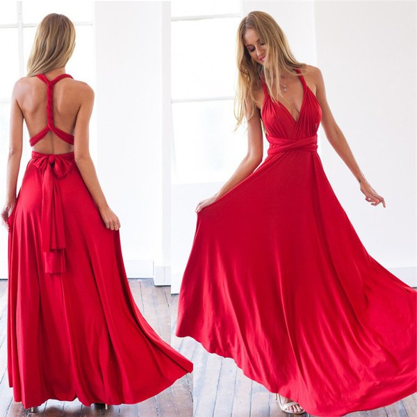 Convertible Long Bridesmaid Dresses 2017 Red Chiffon Floor Length Ruffle Beach Country Cheap Maid of Honor Guest Dresses Under 50