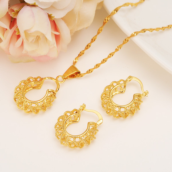 quality Necklace pendant Earrings set Eritrea women jewelry Habesha Set For Girl Gold African Bridal wedding Sets best golden gift