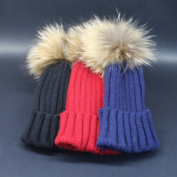kids crochet hats baby winter caps children Raccoon fur pom poms hat fashion girl boy beanie skull cap toddler knitted bonnet wholesale B985