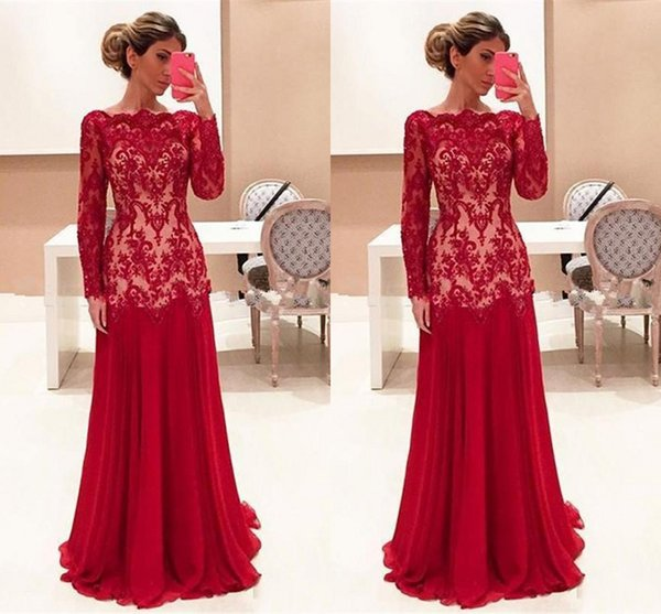 2017 Cheap Elegent Red Mother Of the Bride Dresses Bateau Neck Long Sleeves Lace Appliques Chiffon Plus Size Formal Wedding Guest Dress