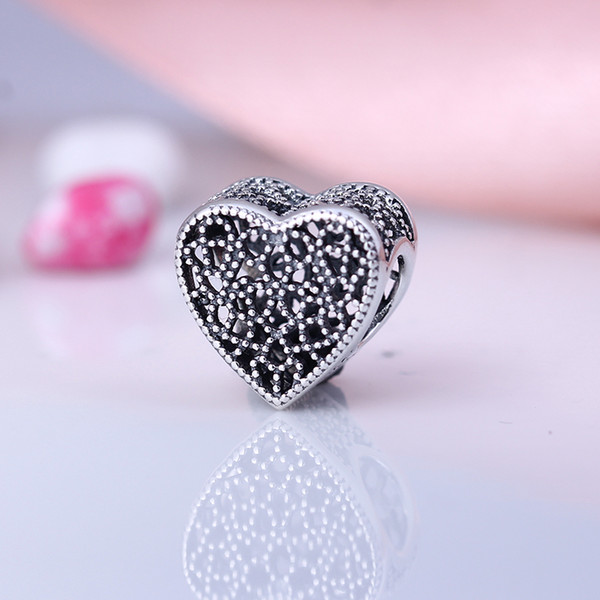New Real 925 Sterling Silver Not Plated Silver Openwork Heart Charms European Charms Beads Fit Pandora Bracelet DIY Jewelry