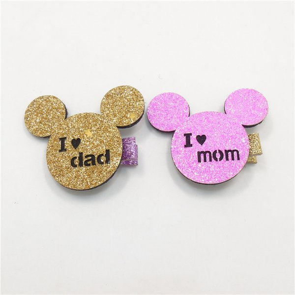 20pcs /Lot Pink Glitter Felt I Love Mom Hair Clip Mother 'S Day Father 'S Day Animal Barrette Gold Cartoon Mouse I Love Dad Hairpin