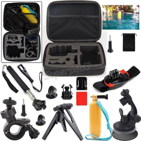Cheap Gopro Tripods Monopods 13 in 1 kit Set Mount Handheld Floaty Bobber + M Size Carry Case For Hero Sports Action Camera 10pcs