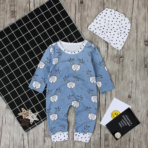 Baby Elk print onesie 2pc sets triangle printing hat+deer head leaves printing long sleeve romper ins hot infants Xmas outfits clothing